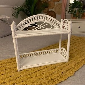 White Two Tiered Wicker Shelf